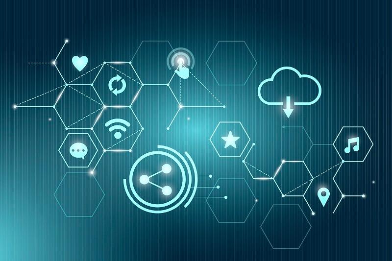 Contabilidade especializada em empresa de TI fundo azul digital