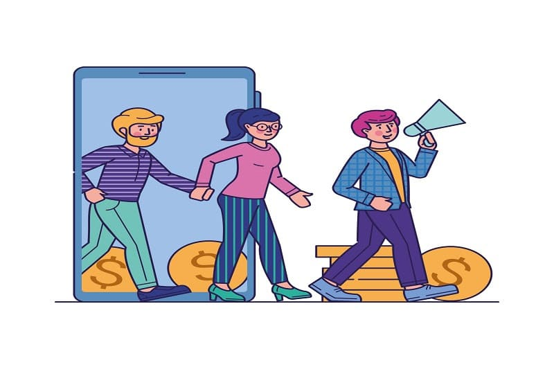 Novo CNAE para afiliados vetor homens e mulher venda de infoprodutos